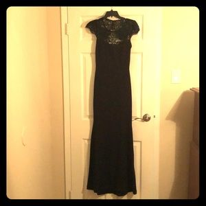Long black gown.